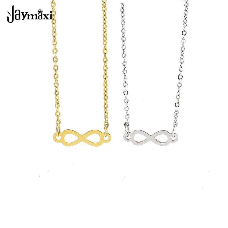 Jaymaxi Infinity Eternal 8 Word Necklace Mirror Polished 2019 New Titanium Steel 18 Inch Chain Necklace Gift