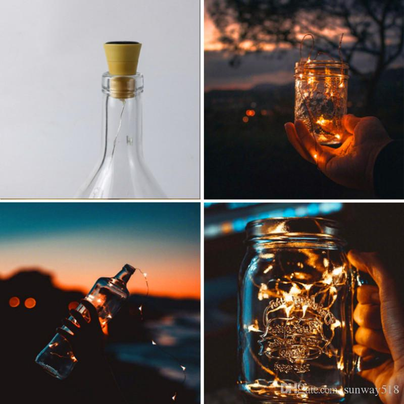 1M 10LED 2M 20LED Lamp Cork Shaped Bottle Stopper Light Glass Wine LED Copper Wire String Lamps For Xmas Party Wedding Halloween
