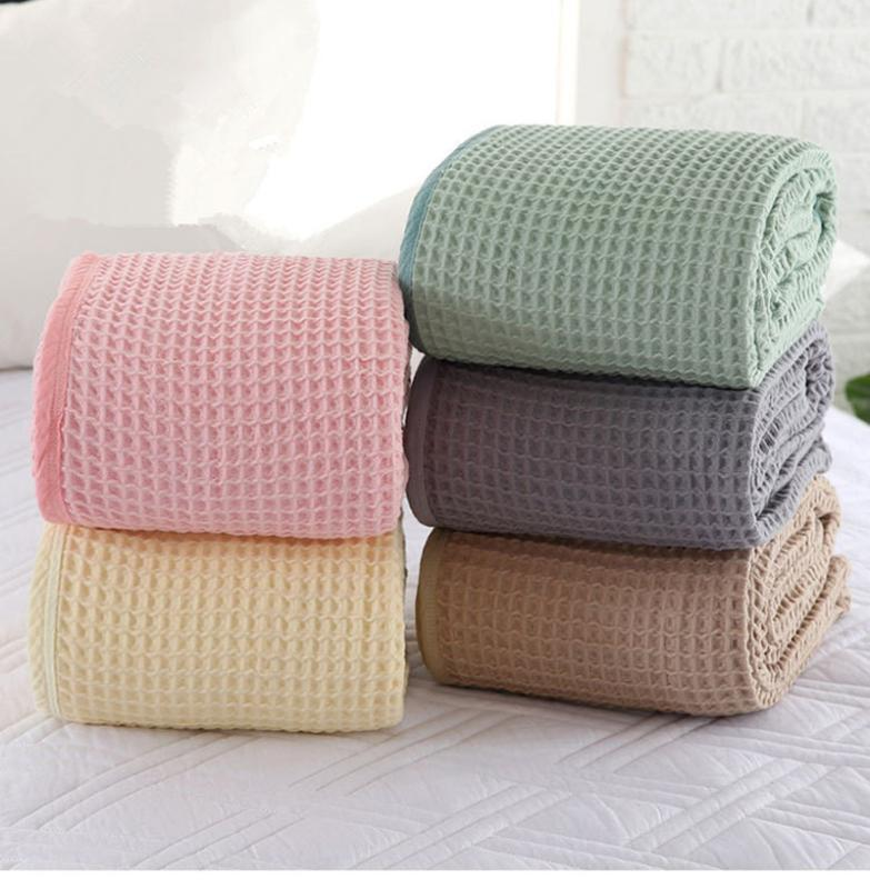 Manta del algodón del verano del color sólido para la toalla sofá cama Wrap Niño manta de la siesta El tiro de la Oficina de coches 110x130cm