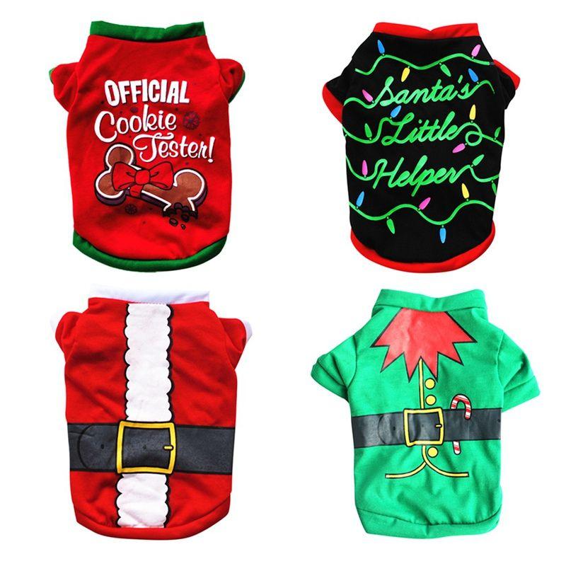 Camisa Dog Pet Grooming Natal Acessórios verde cinto de algodão T-shirt Festival traje para Pequenas e Médias Cães Roupas