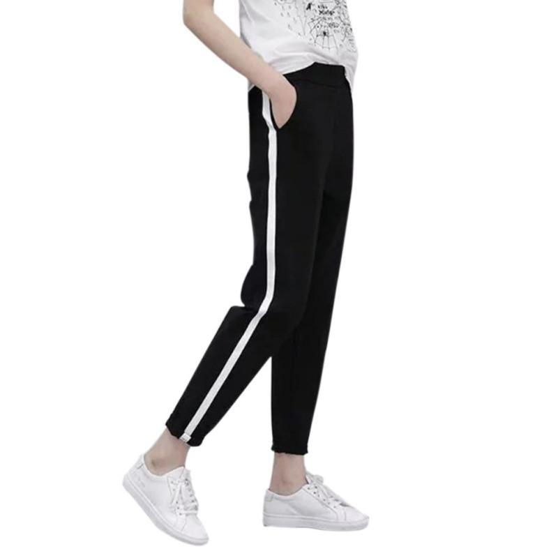 Fashion Women Side Waist Harem Women Casual Stripes Pants Trousers High Black XXL Drawstring