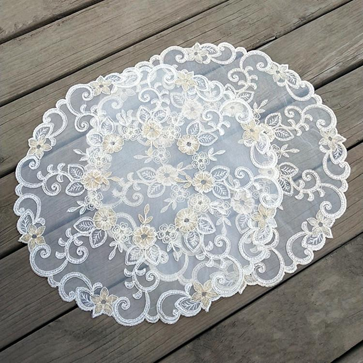 Embroidery Table Mat Placemats Lace Pad Crochet Doilies Cup Coster Mug Coasters Dining 42cm Round Placemat Kitchen