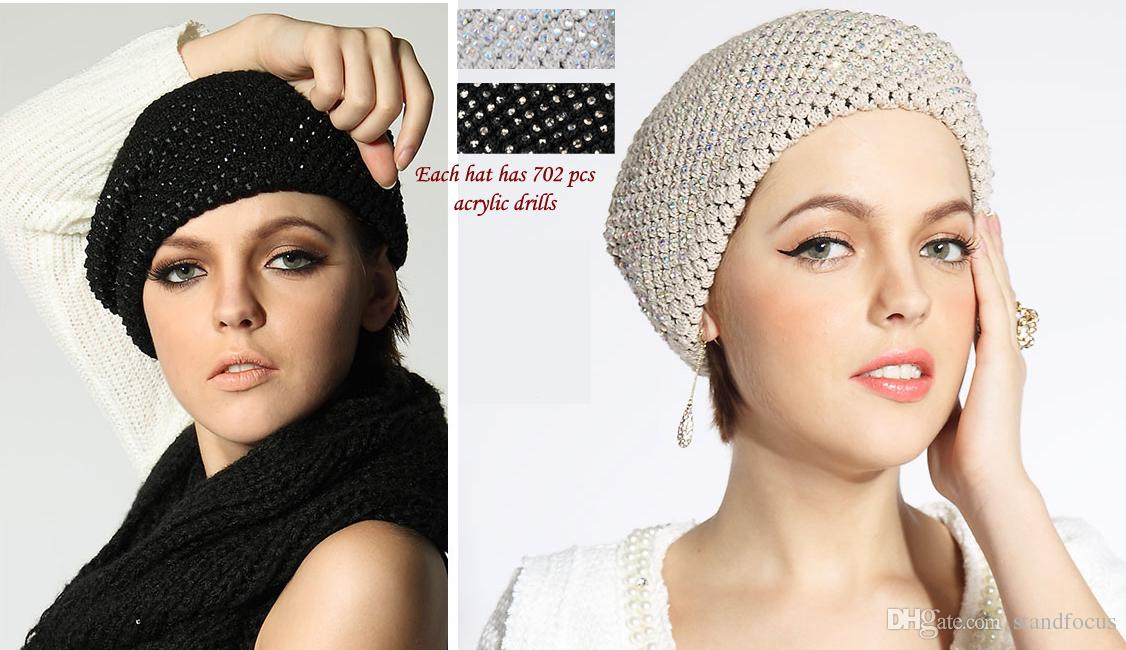 Stand Focus Fashion Royal Crochet Knitted Beanie Beret Wool Blend Stone Warm Hat Cap Women Ladies Fall Winter Grand Black Beige Double Layer