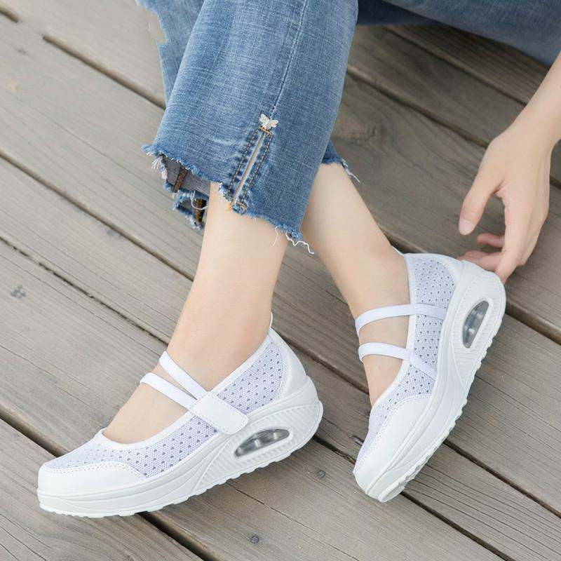 2020 Summer Women Flat Platform Shoes Woman Breathable Mesh Customary Shoes Moccasin Zapatos Mujer Ladies Boat