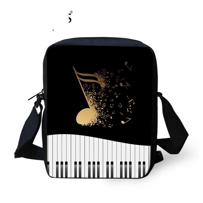 Moda Kadın Mini Crossbody Çanta Müzik Not / Piyano Klavye Baskılı Kadın Messenger Çanta Seyahat Omuz Sumka