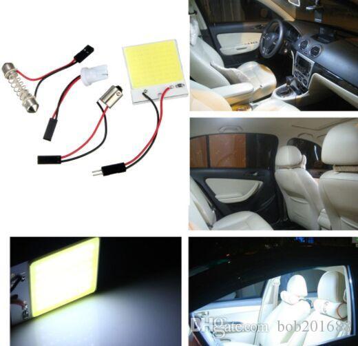 48 LED Chip COB T10 BA9S Festoon Dome Lampada da pannello interna bianca con luce interna