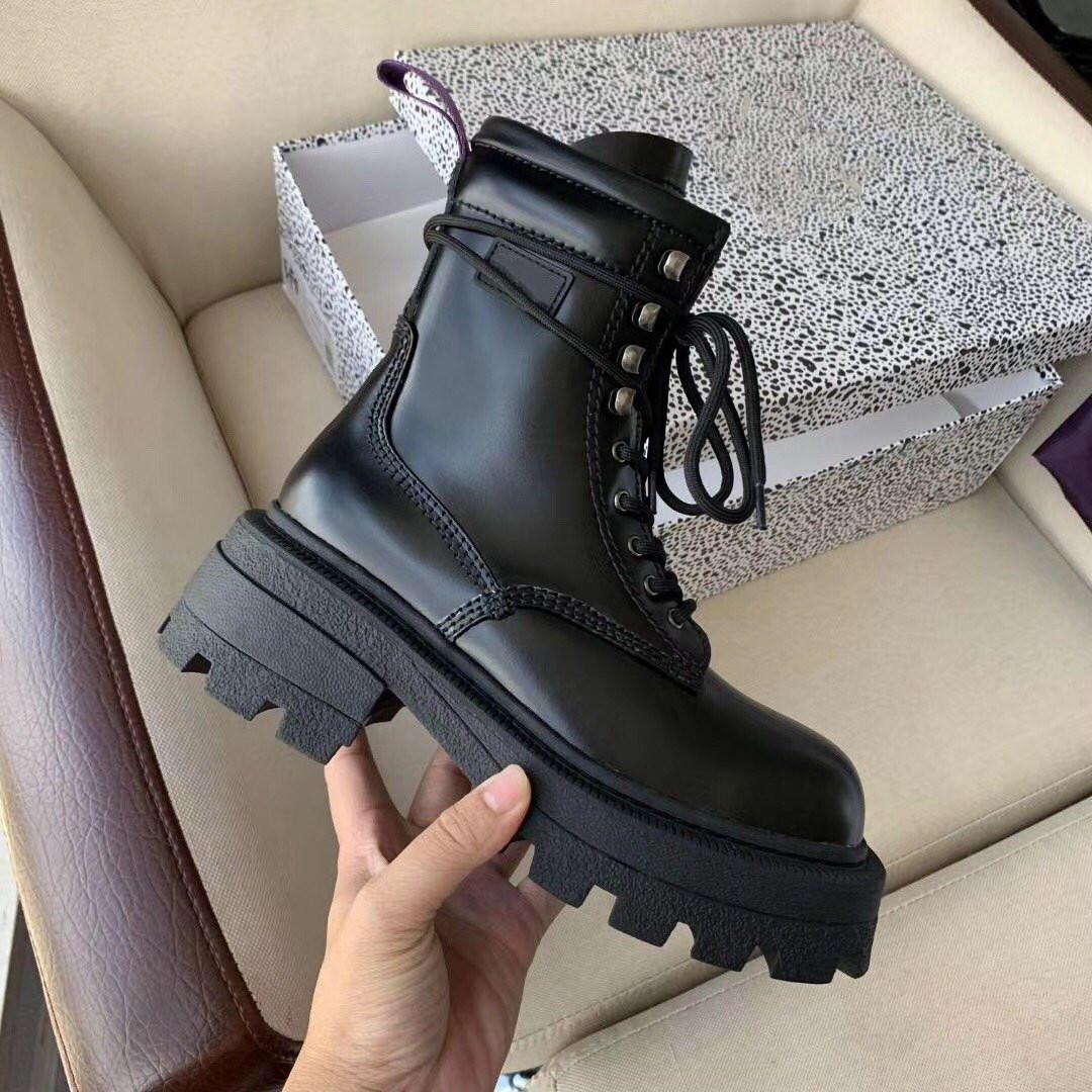 2020 Piel de otoño invierno de alta gama calidad de la manera de las mujeres Martin botas 35-40 Altura del tacón de 6 cm