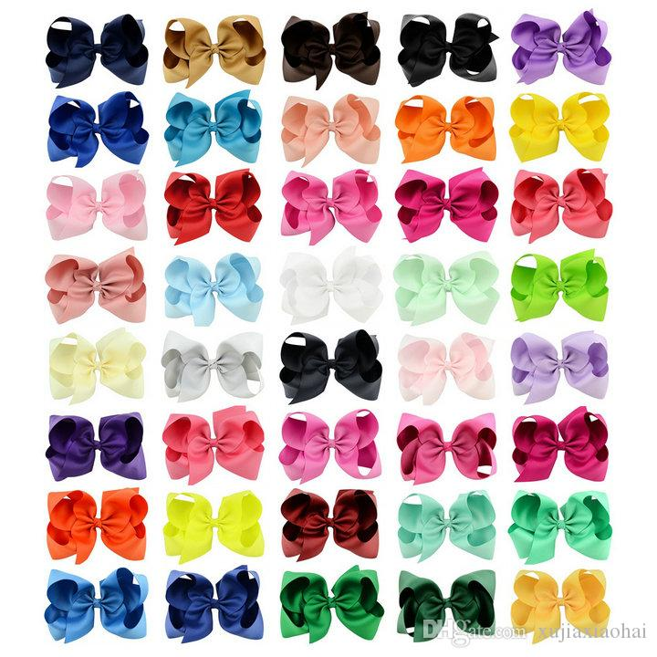 6 Inch Baby Girl Children hair bow boutique Grosgrain ribbon clip hairbow Large Bowknot Pinwheel Hairpins Hair Accessories decoration