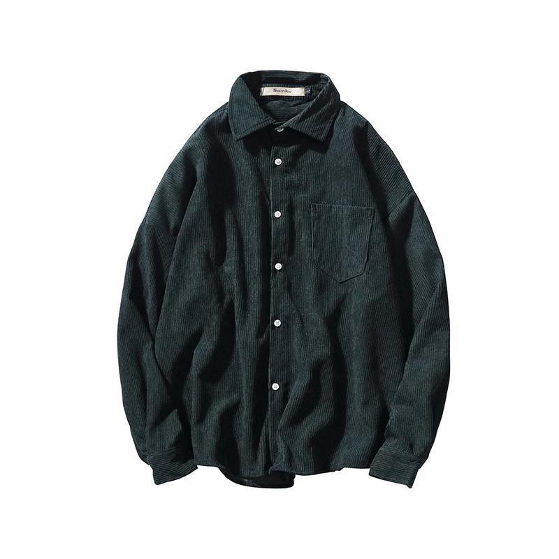 Stampato Men Dress molla di autunno camicia vestito da modo di stile giapponese Mens camice casuali cotone verde nero a maniche lunghe Nuovo II50CS