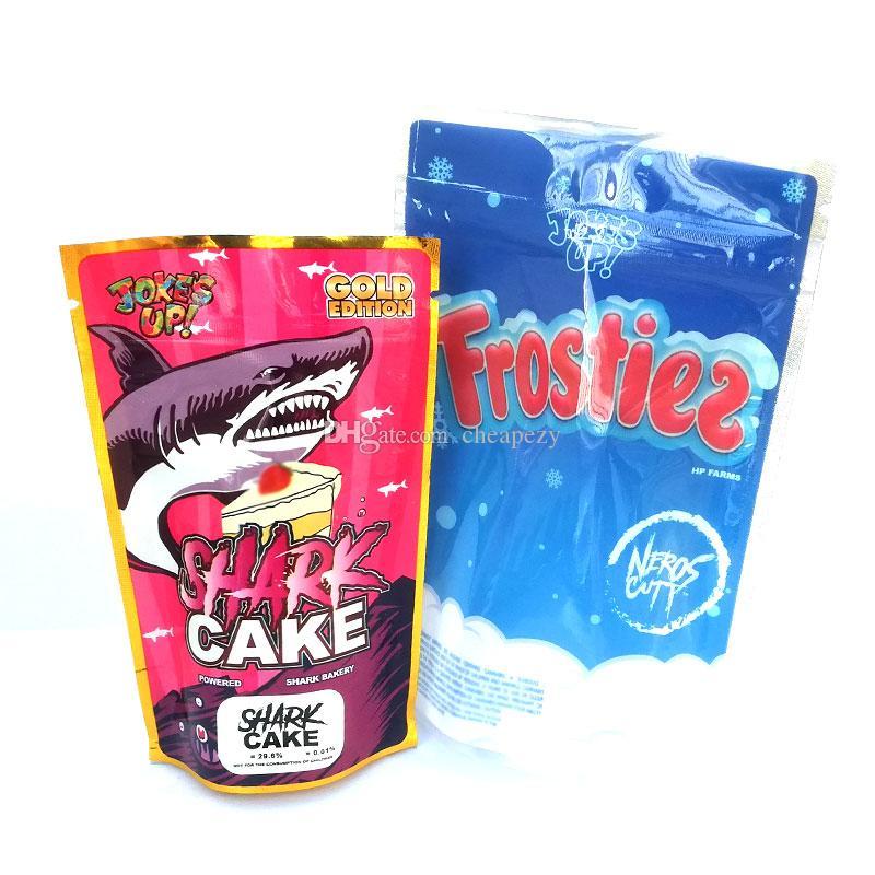 Frosties Çanta şaka UP! Gold Edition Köpekbalığı Kek Frostiez Packaging Koku Geçirmez 3.5g Mylar Çanta DHL Ücretsiz
