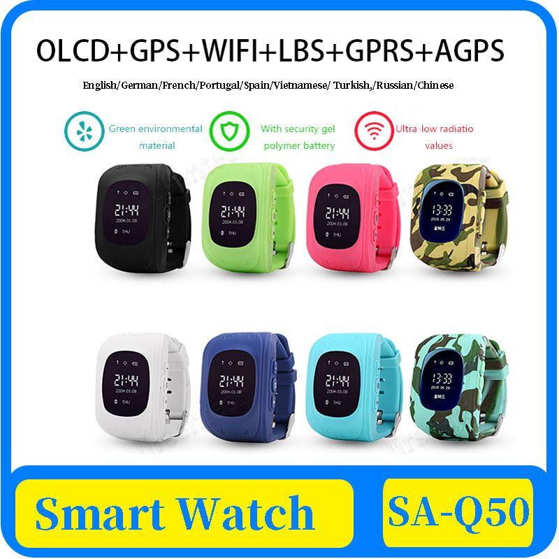 niños del reloj del GPS SOS de llamada OLED Q50 para niños Smart Clock reloj de los niños del localizador del buscador del perseguidor del bebé Anti-Perdida monitor de envío libre de DHL