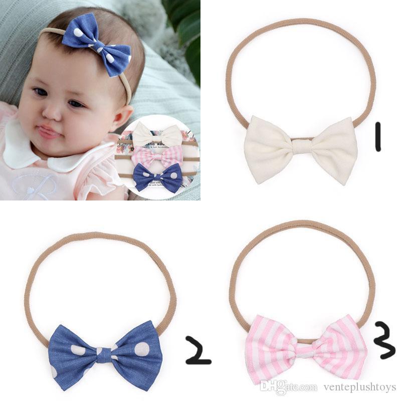 Europe Mode Infantile Bébés Filles Arc Bandeau Bowknot Mignon Tête Élastique Bande De Cheveux Bandeaux Bandanas Bandeaux