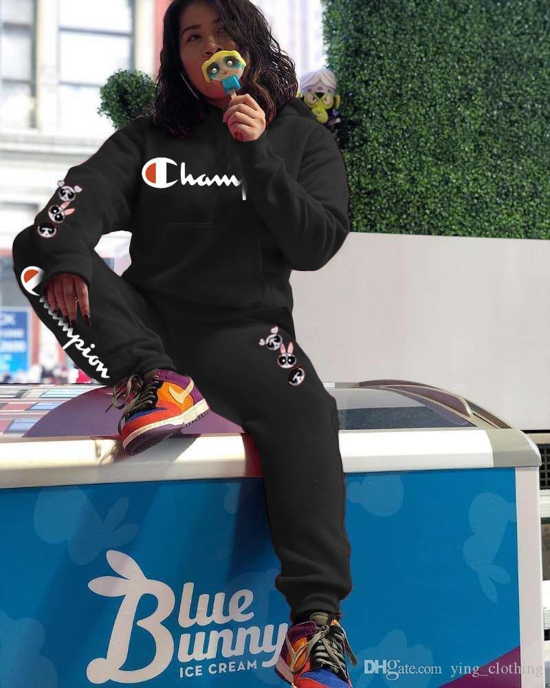 Champions Femmes Automne Hiver Sweats à capuche 2 Set Piece Tops + Pantalons Sport Costume Pull + Leggings Tenues capuche Vêtements Survêtement Survêtement 1490