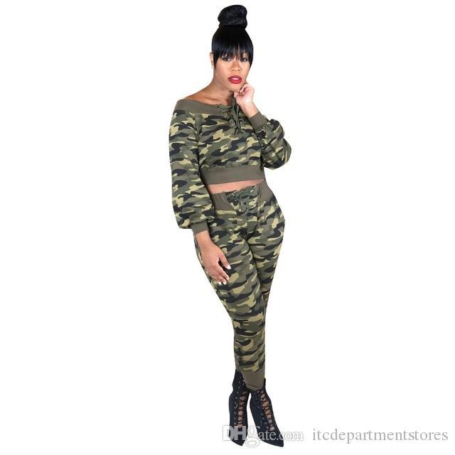 Chándal de invierno Overol de camuflaje Otoño Top + Lápiz pantalón moda mujer sexy conjunto dos piezas Mono Casual Trajes