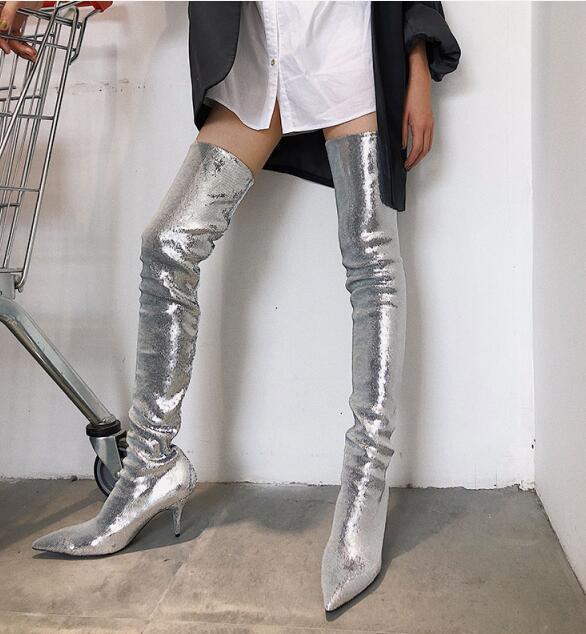 bling bling 2020SS tacchi alti stivali passerella di moda della coscia alti signore vestito stivali moda prom festa di nozze scarpe a punta a punta progettare