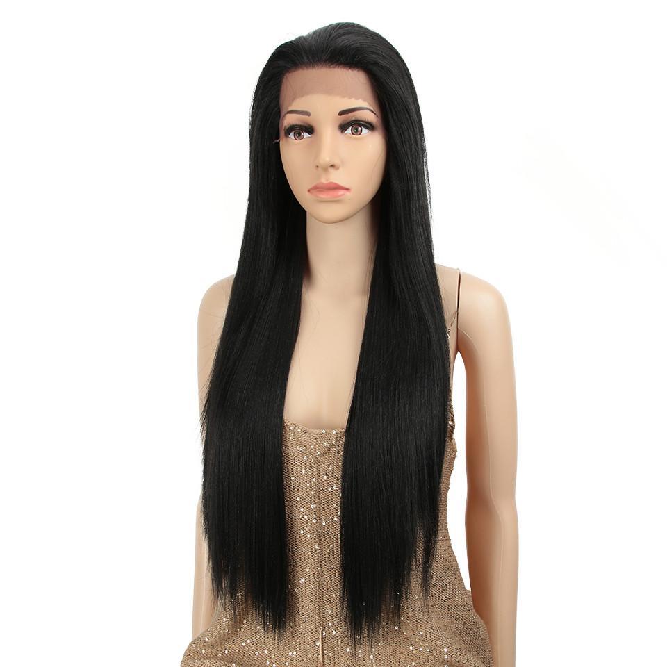 Siyah Ombre Rengi Uzun Düz Saç Dantel Açık Peruk 13 * 4 Isıya Dayanıklı Sentetik Dantel Açık Peruk İçin Siyah Kadınlar