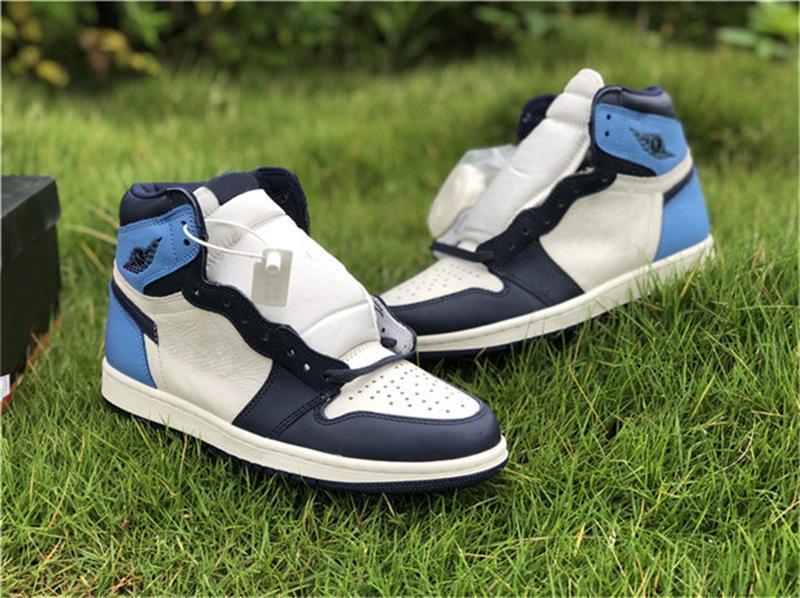 Authentique 2020 1 Og Haute Unc cuir Obsidian Hommes Chaussures de basket-ball Université Blue Sports Retro Sail 555088 -140 Chaussures Sneakers 7 -13