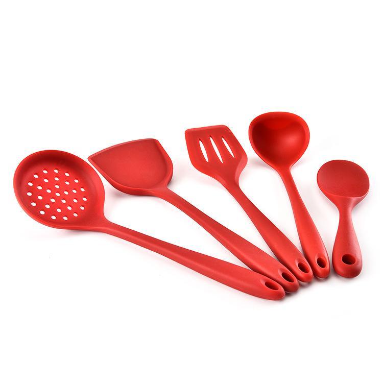 yemek kaşığı kürek araç seti, silika jel mutfak eşyaları kap kürek pirinç çorbası kaçak kaşığı beş set Üretici toptan mutfak