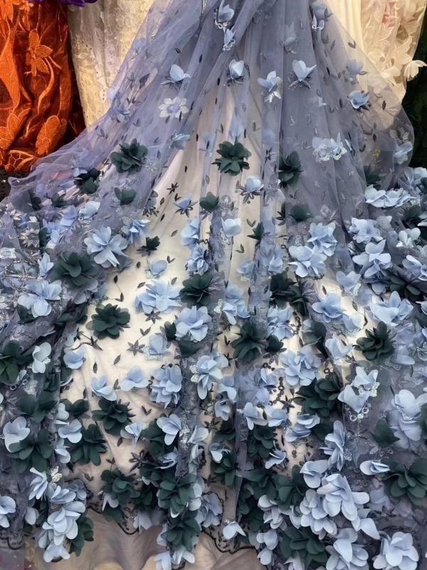 10 colores (5yards / pc) Alto grado de África francesa neta de lujo tela de encaje azul 3D flores de encaje apliques para FZZ722 vestido de fiesta