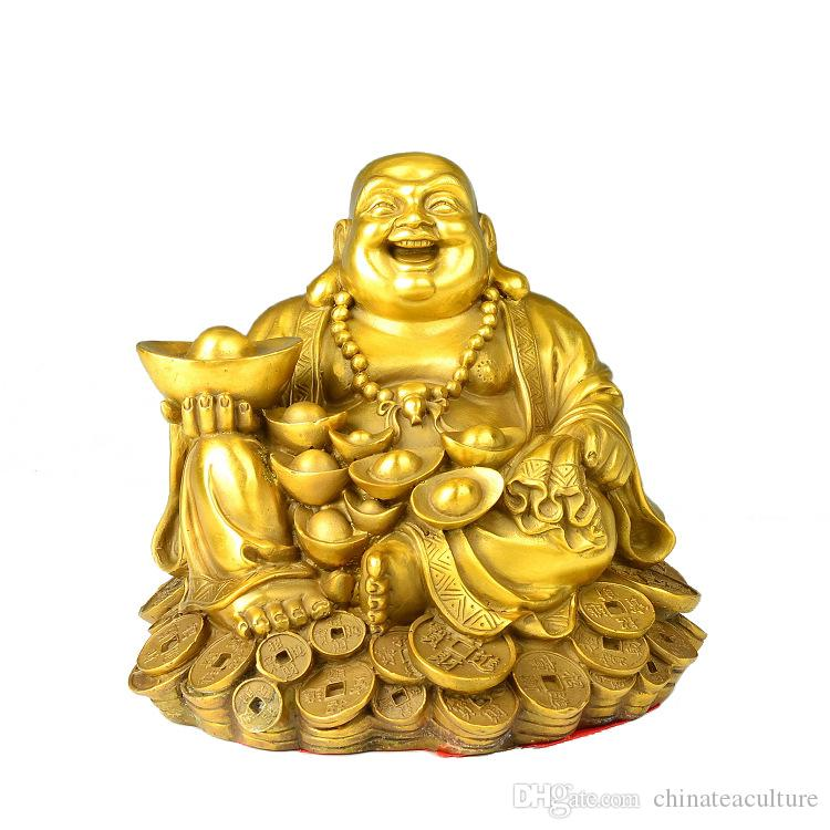 Feng Shui Laughing Buddha Sitting on Gold Coins Small Statue -ODB 3 inches