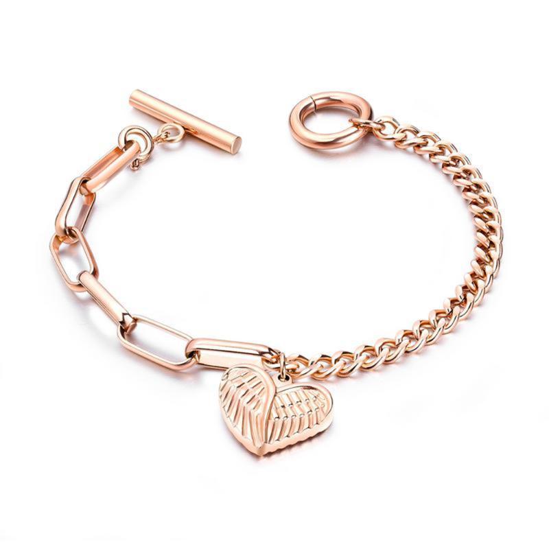 Aço mulheres pulseira de alta qualidade inoxidável 316L Rose Coração de Ouro alta polonês Cristal Titanium jóia de aço Belas Presente Para As Mulheres