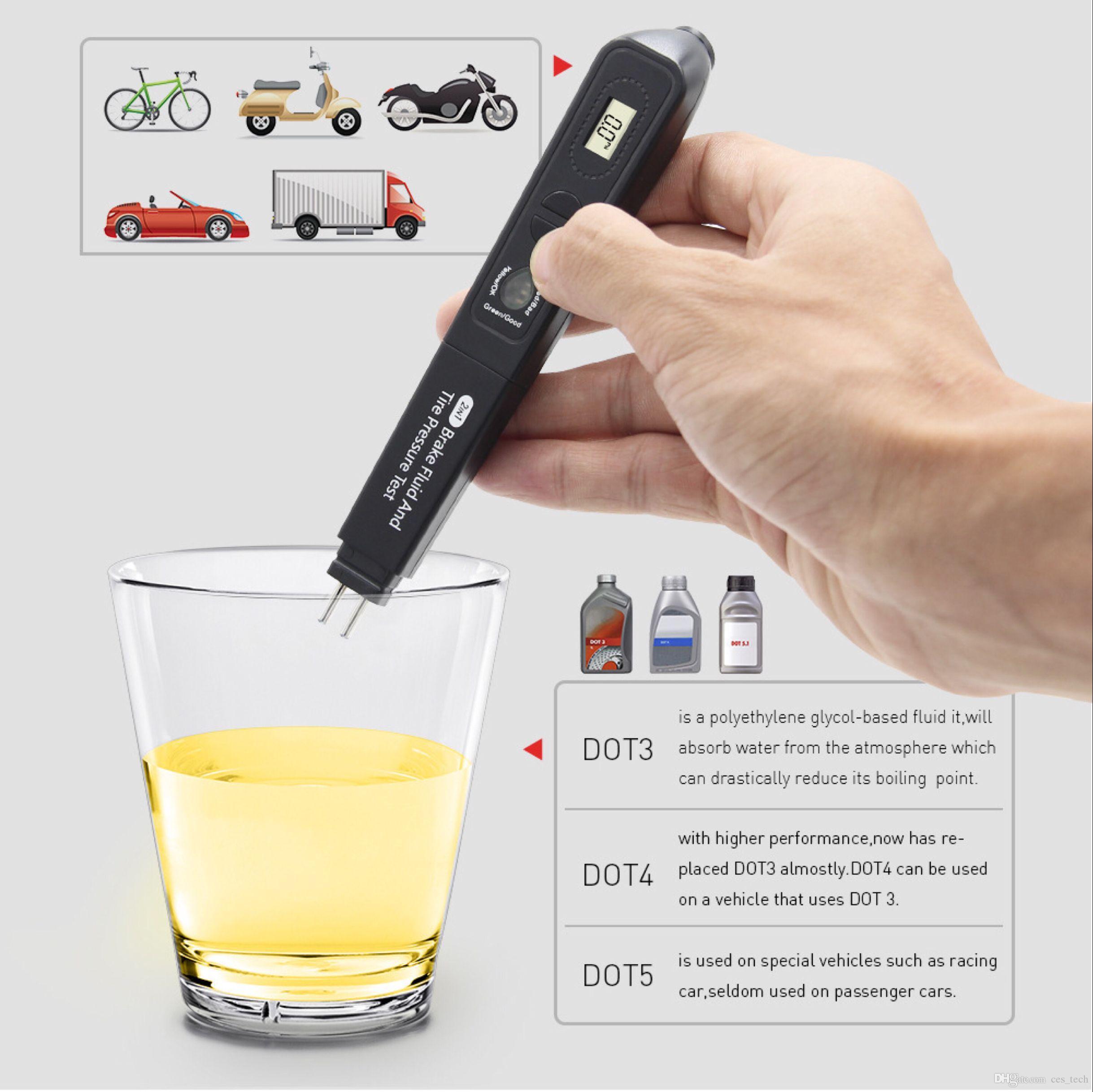 2in1 إطار سائل الفرامل واختبار الضغط Pen Digital Car Tire Pressure Monitor Sensor Gave Pen Auto Car Truck Motorbike Tems Tool