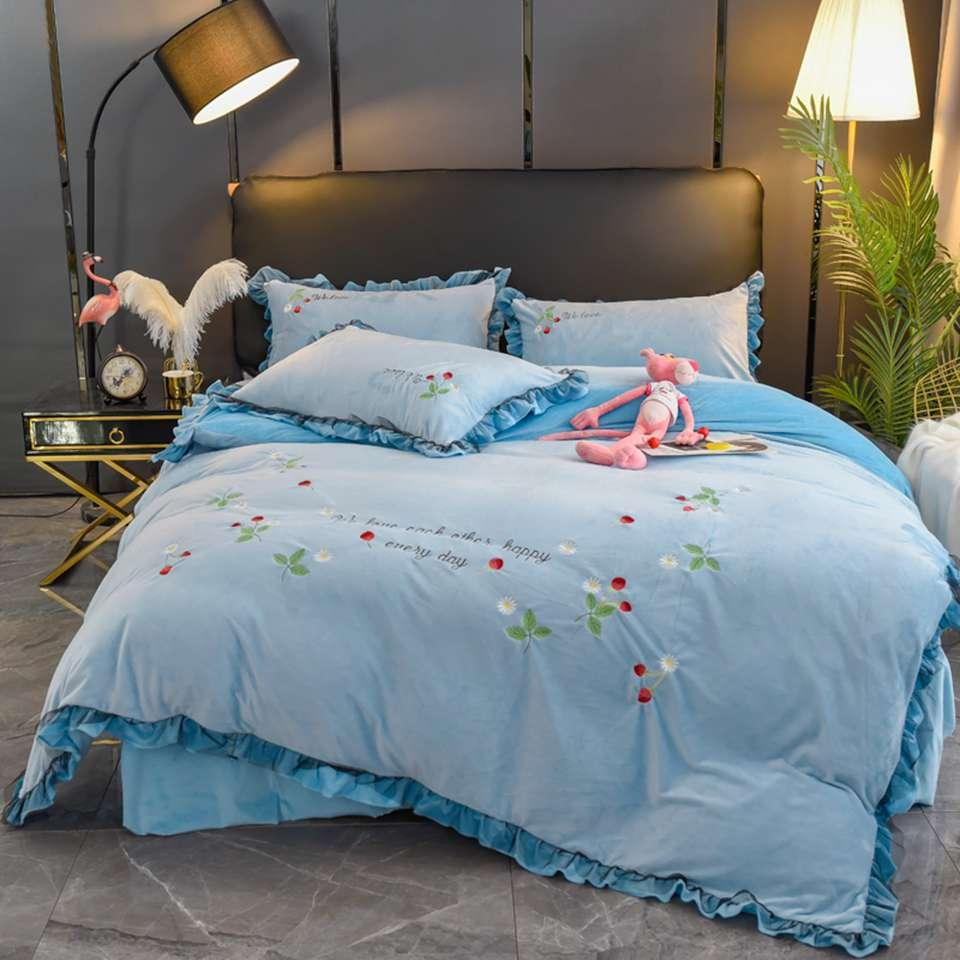 Designer Bedding Set Modal Cotton Bed Four-piece Quilt Cover Sheet Bedding Set Home Supplies Fleece Fabric 22