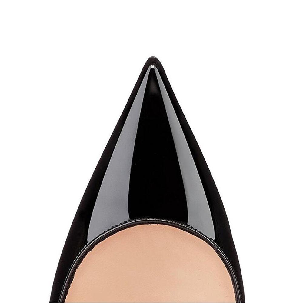 Yüksek Kadınlar 12cm Kadın Seksi Sivri Burun Düğün Ayakkabı Stilettos Siyah Çıplak Topuklar Stiletto Artı boyutu Y200323 pompaları