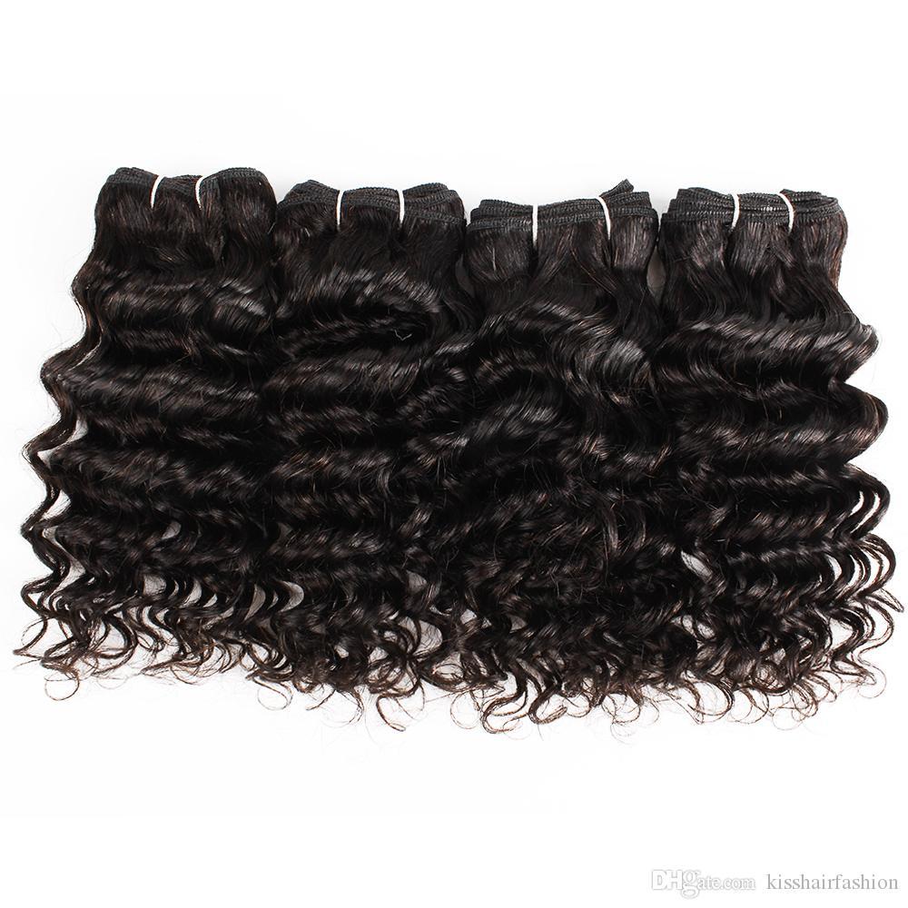 4 Adet Hint Derin Kıvırcık Saç Örgü 50 g / PC Doğal Renk Siyah Ucuz İnsan Saç Dokuma Uzantıları için Kısa Bob Stil