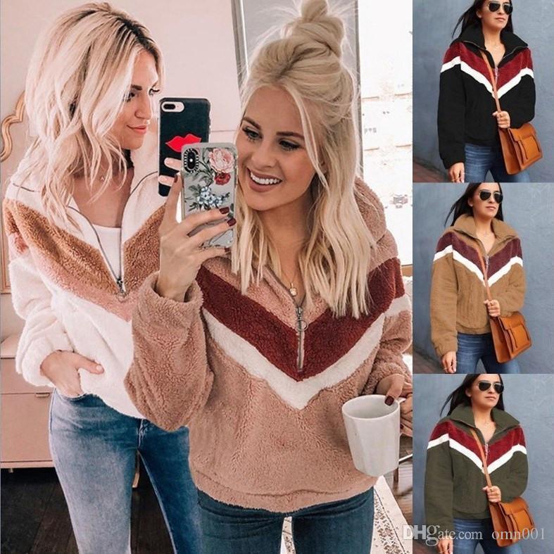 Fermuar Yaka Boyun Ekleme Renk Geometrik ile Kadınlar Peluş Triko Coat Gevşek Kazak Kış Giyim İçin Bayan Giyim 32mf E1 Tasarımları
