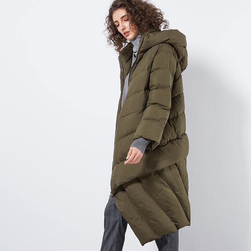 LYNETTE'S CHINOISERIE Winter Original Design Women Loose Long Asymmetrical Hooded 90% White Duck Down Coats Jackets Outerwear