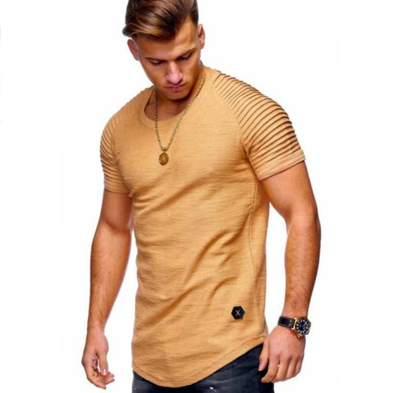 2019 новая мужская o-образным вырезом тонкий Fit сплошной цвет с коротким мужчины футболка в полоску сложите рукав реглан стиль Майка мужчин топы тис размер S-XXXL осенняя Y200409