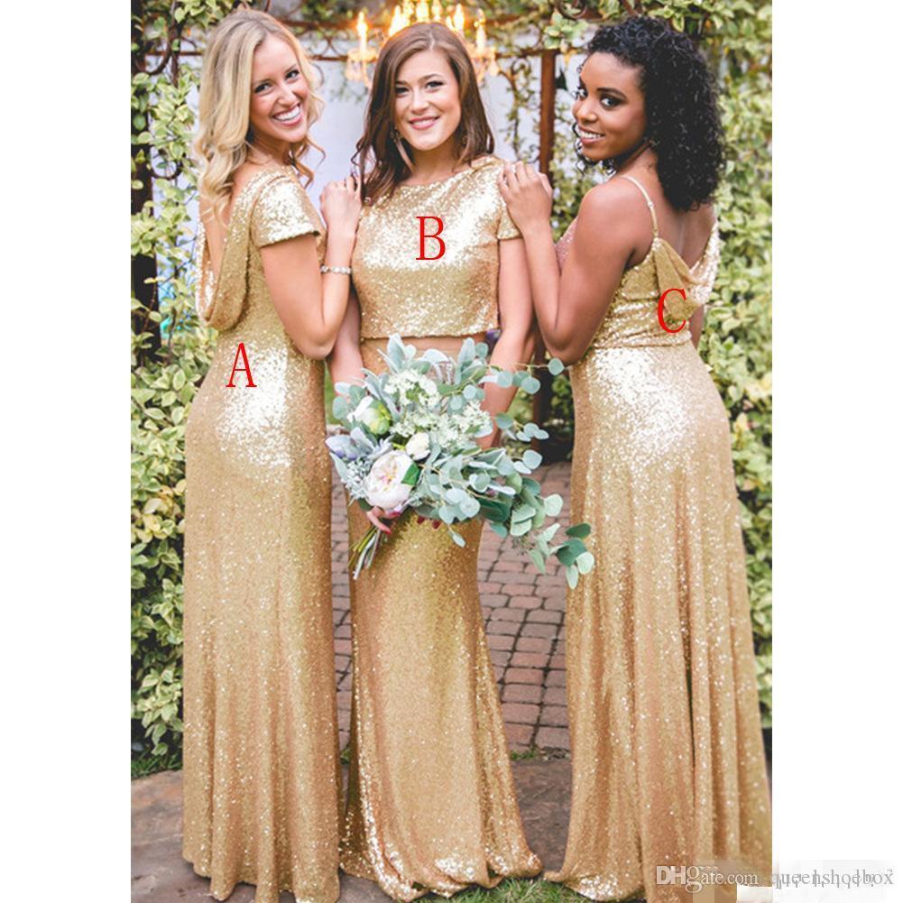 Frizzante Gold paillettes abiti da sposa maniche corte in due pezzi Jewel spalline floor-lunghezza su ordine Plus Size abito da damigella d'onore