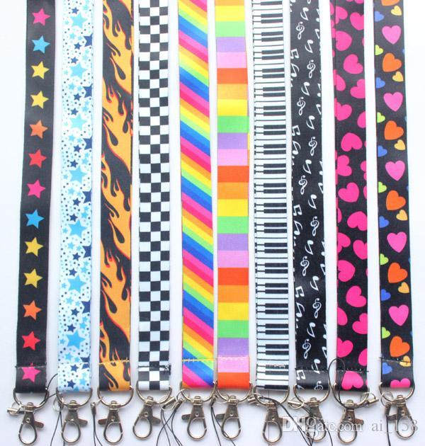도매 불꽃 무지개 별 휴대 전화 끈 키 체인 ID 카드 교수형 로프 슬링 넥 스트랩 펜던트 선물 X019