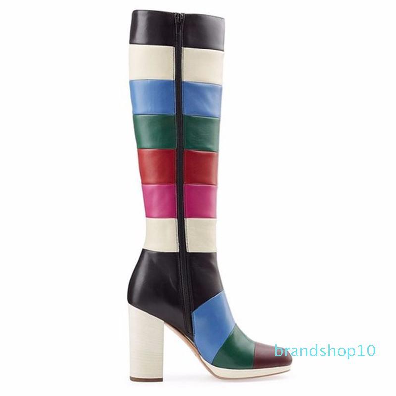 Hot Sale-mixte Couleur Patchwork Cuissardes Talon carré bout rond Chaussures à gros talons couleur Rainbow Stage longue bottillons pour les femmes