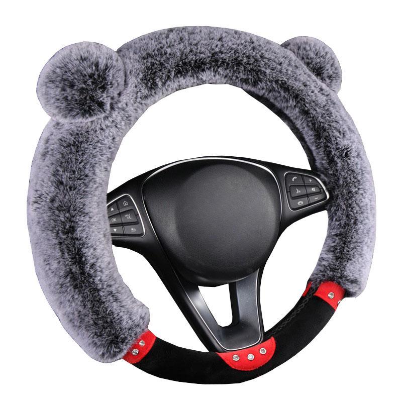 Рулевое управление Winter -Как Плюшевые колеса автомобиля Крышка для большинства баранка Ковер Soft 37-38 CM 14,5 «-15» Braid на руки Бар