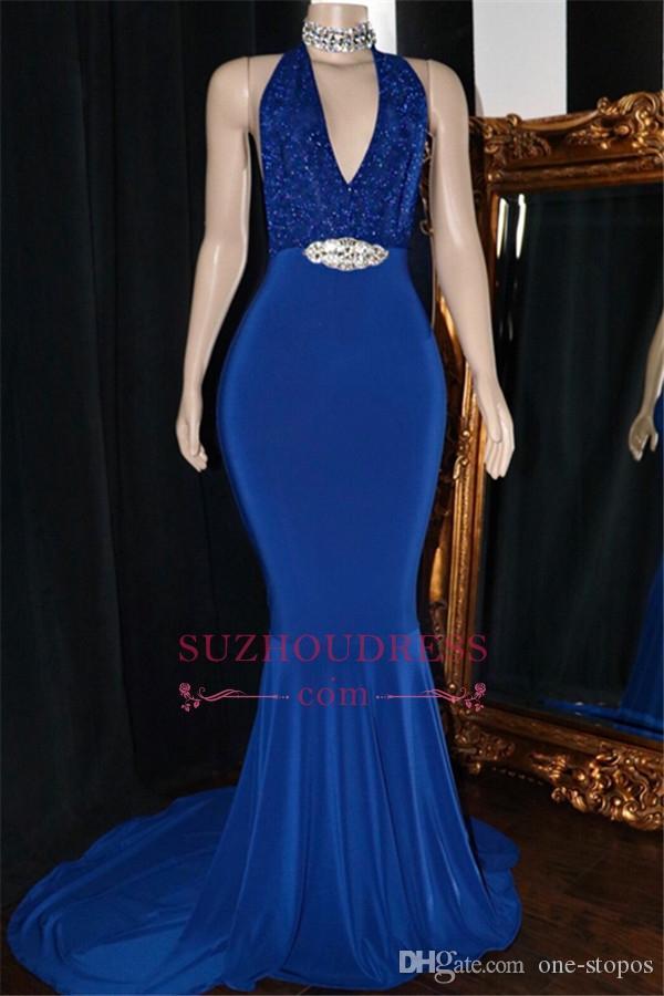 2019 Royal Blue Mermaid Prom Abendkleider Sexy Backless Kristall Schärpe formales Partei-Kleid plus Größe Festzug-Kleider nach Maß