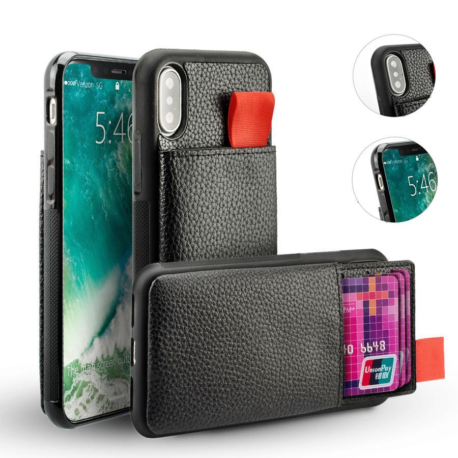 Para iPhone 7 Caso a prueba de golpes en Piel bolsa de la tarjeta de crédito del bolsillo de TPU RFID bloqueo casos para el iphone 8 7 6 Plus Cubierta