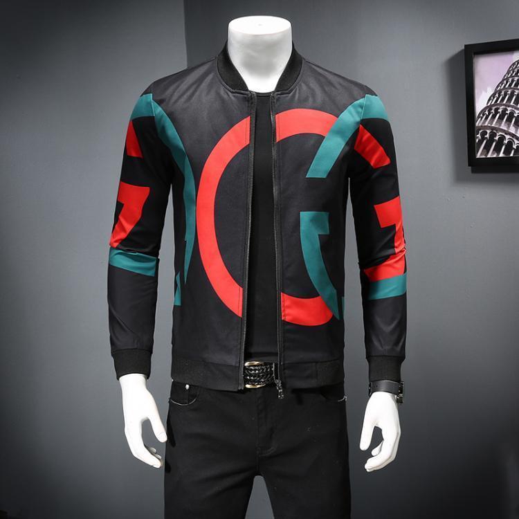 새로운 국제적인 고품질 재킷 호화스러운 남성복 유행 인쇄 대 고리 절묘한 외투 거리 옷 운동복 M--5XL