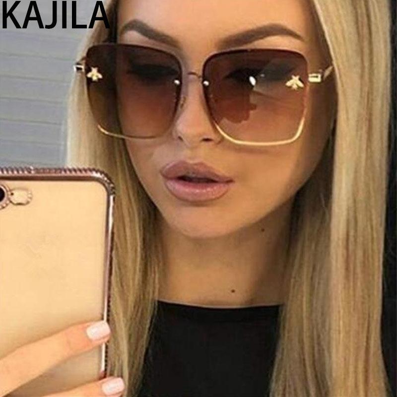 WomanUV400 1843 İçin Yeni Geliş 2019 Büyük Boy Kare Arı Güneş Kadınlar Marka Metal Çerçeve Gradyan Güneş Gözlükleri Gölge