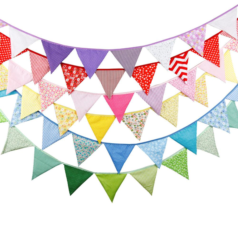20 + 12 colori Bandiere - 3.2M del tessuto di cotone panno striscioni di nozze Bunting decorazione festa di compleanno di Baby Shower Garland Tent Decoration