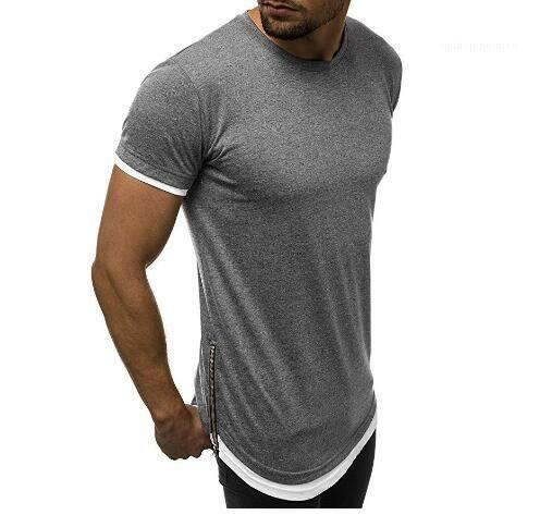 Pullover Short Sleeve Fashion Casual Tees Mens Zipper Solid Color Tshirt Summer Round Neck