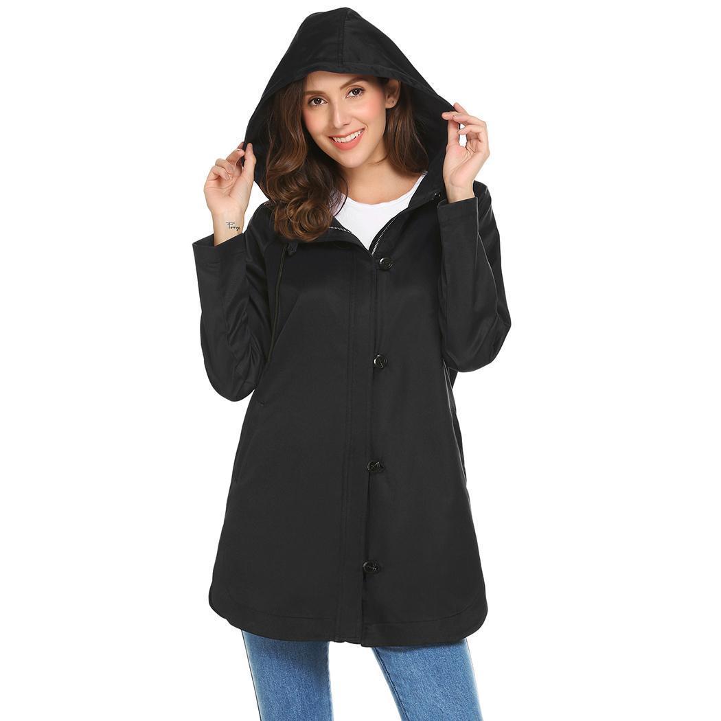 Women Casual Drawstring Hooded Long Sleeve Split Hem Windbreaker Outwear Height 175cm Bust 86cm Waist 60cm Hip 90cm