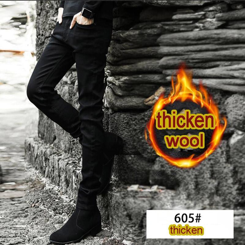 Pantalones otoño invierno 2020 pies de los hombres estiramiento de la manera más el terciopelo que espesan los pantalones vaqueros de los hombres de negro lápiz delgado coreano botas de los pantalones vaqueros