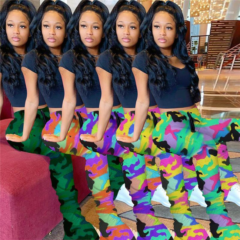 Feminino Vestuário magro da mulher roupas de grife de luxo da moda camuflagem Dividir Stacked Sweatpants Mulheres Casual Calças Micro Alargamento