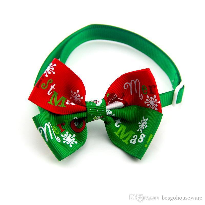 Venta al por mayor Copo de nieve Corbatas Perros Bowtie Gatos ajustables Corbata de perro Decoración navideña Aseo Navidad Suministros para mascotas Pajarita BC BH0530