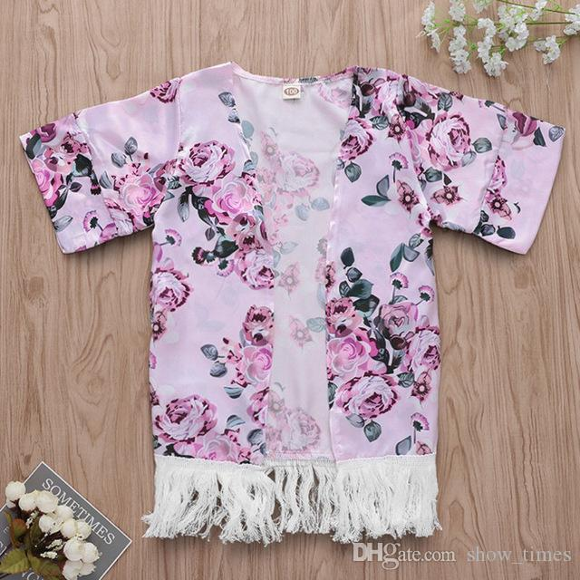 Toddler Baby Girls Flower Tassel Kimono Shawl Cardigan Tops Outfits Set