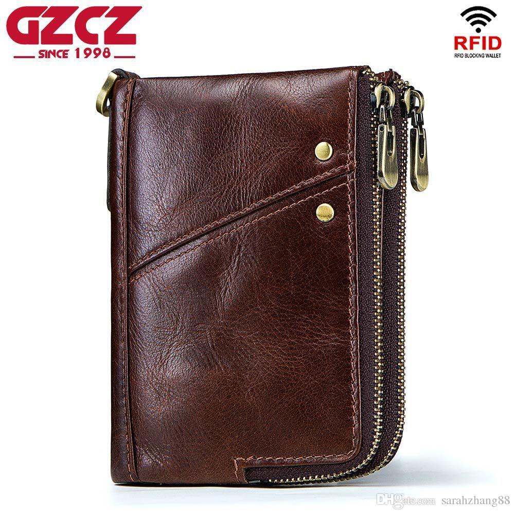 RFID Credit Card Case Holder Mens Womens Blocking Zipper Pocket Leather Wallet