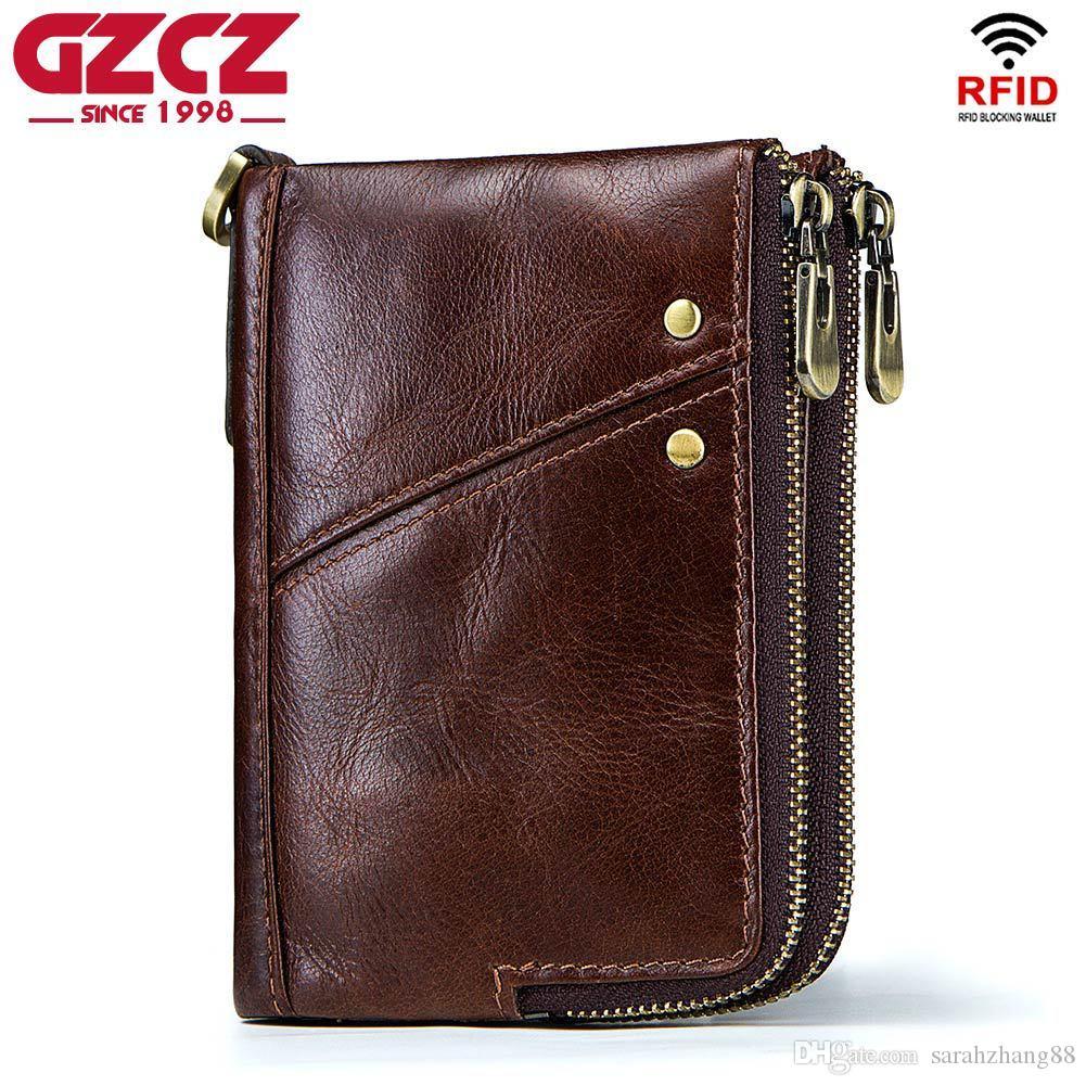 Men's Card Cadeau Portefeuille Élégant Bifold Zip-Around Véritable Credit Credit Double poches Cuir RFID avec support Blocage TBRRR