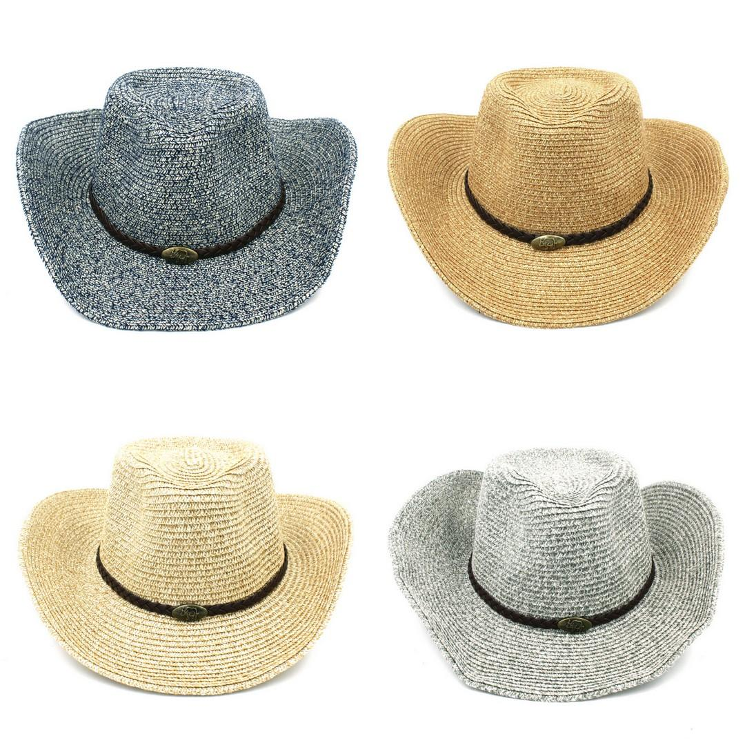 Cool Unisex Sun Caps Men Hat Wide Brim Straw Beach Western Cowboy Cowgirl Cap